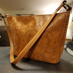 THE SAK Indio Floral Embossed Brown Leather Hobo B